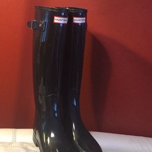 Black hunter Tall gloss rain boots